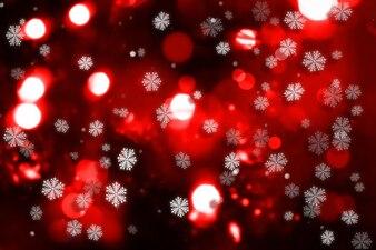 Sfondo decorativo di Natale con fiocco di neve e luci bokeh