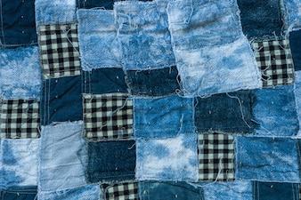 Sfondo di tessitura patchwork e texture, Filetto di tono blu tessuto vecchio per sfondo