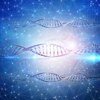 Sfondo medico 3D con i fili del DNA