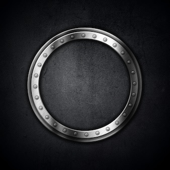 Sfondo metallico con una cornice circolare