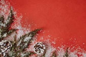 Sfondo Natale con foglie di albero di Natale