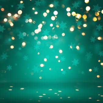 Sfondo Natale con i fiocchi di neve e luci bokeh