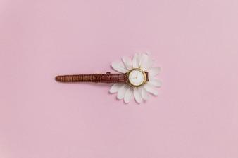 Sfondo rosa con orologio e petali