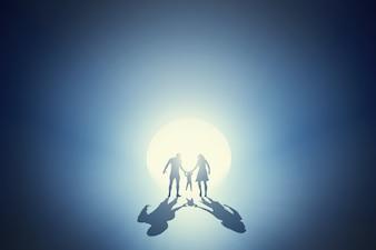 Silhouette di una famiglia divertirsi insieme