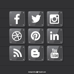 Social media disegno materiale trasparente