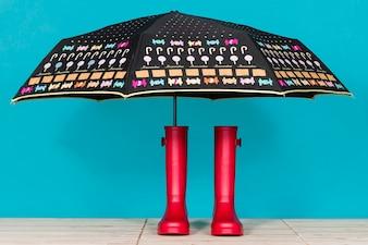 Stivali acqua con ombrello decorativi