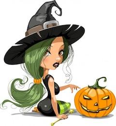 strega graziosa con illustrazione vettoriale halloween