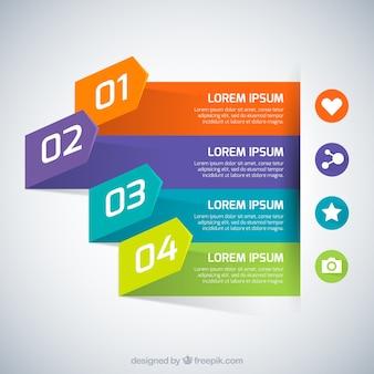 Striscioni colorati infografica