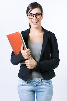 Studio colpo di donna con i documenti