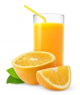 Succo d'arancia in vetro