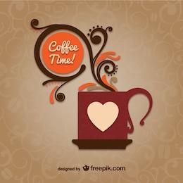 Tempo di caffè di vettore con la tazza