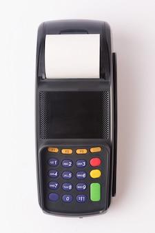 Terminale di pagamento isolato su bianco. Struttura del pannello anteriore per il tuo oggetto