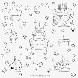 Torte di compleanno doodles