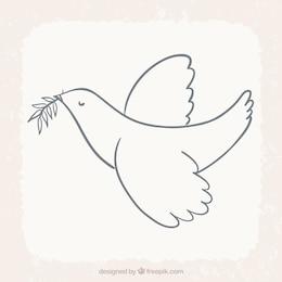 Uccello volare con foglia di alloro