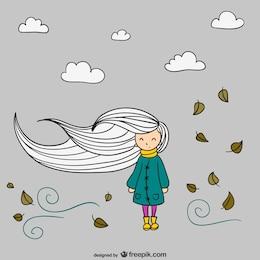 Vettore autunno ragazza