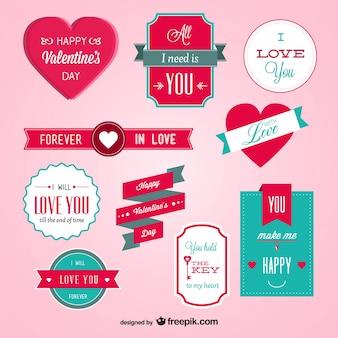 Vettore badge giorno di San Valentino set