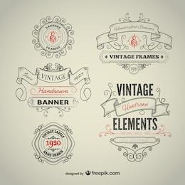 Vintage elementi disegnati a mano