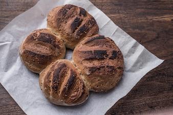 Vista bordo di pane ancora dieta