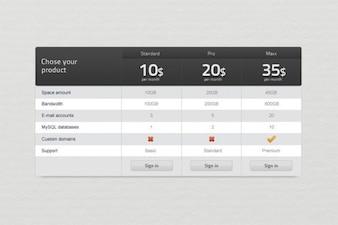 web personalizzato listino prezzi ui psd