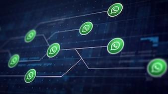 Whatsapp Icon Line Collegamento della scheda di circuito