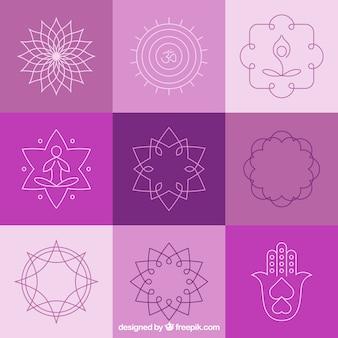 Yoga scudetti e simboli astratti