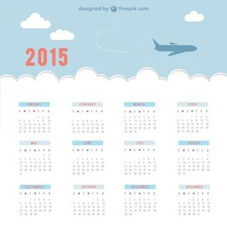 2015 calendário com céu e avião