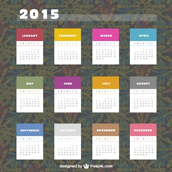 2015 calendário com etiquetas coloridas