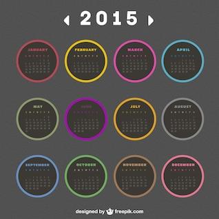 2015 calendário com etiquetas redondas