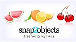 3 geladas frutas ícones vetores definido