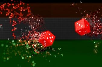 3D rendem de dados de rolamento com efeito da luz do bokeh