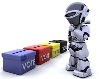 3D rendem de eleição caixas dia de voto