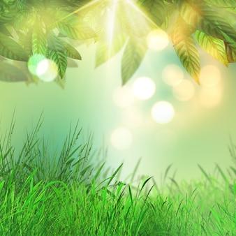 3D rendem de folhas e grama em um fundo luzes do bokeh