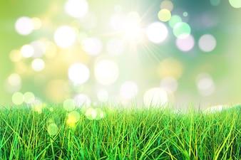 3D rendem de grama verde contra um fundo luzes do bokeh