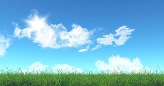 3D rendem de grama verde e céu azul