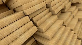 3d rendem de pranchas de madeira