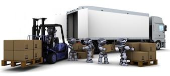 3D rendem de Robot Driving a Lift Truck