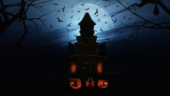 3D rendem de um fundo de Halloween com abóboras e castelo assustador