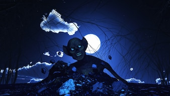 3D rendem de um fundo de Halloween com zombie em erupção fora da terra