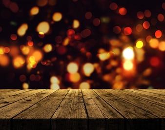 3D rendem de um fundo do Natal com mesa de madeira rústica contra um fundo de luzes do bokeh