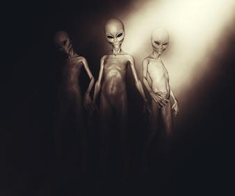 3D rendem de um grupo de alienígenas na iluminação atmosférica