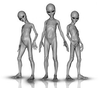 3D rendem de um grupo de alienígenas