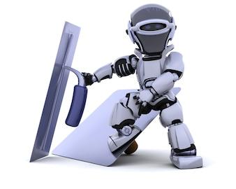 3D rendem de um robô com as ferramentas de estuque