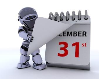3D rendem de um robô com um calendário