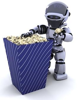 3D rendem de um robô com uma caixa da pipoca