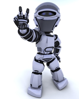 3D rendem de um robô que apresenta sinal de paz