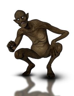 3D rendem de uma criatura demoníaca agachado
