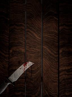 3D rendem de uma faca ensanguentada em uma mesa de madeira