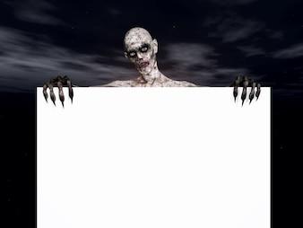 3D rendem de uma figura zombie segurando um sinal em branco
