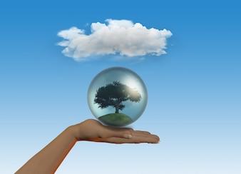 3D rendem de uma mão feminina segurando uma árvore em um globo sob uma nuvem