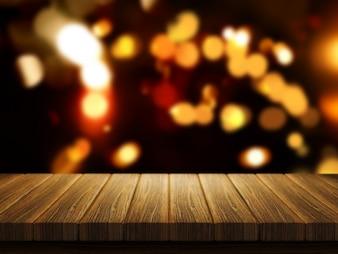 3D rendem de uma mesa de madeira com um defocussed luzes do bokeh de Natal no fundo